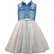 Bonnie Jean Little Girls Denim to Tulle Dress