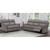 Abbyson Warner Leather Reclining Sofa and Loveseat