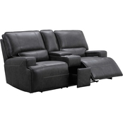 Abbyson Marcia Leather Power Reclining Loveseat