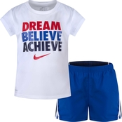 Nike Little Girls Dri Fit Tee and Shorts 2 pc. Set