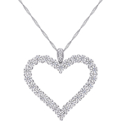 Sofia B. 10K White Gold 2 2/5 CTW Moissanite Open Heart Pendant