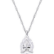 Sofia B. 10K White Gold 2 ct. Moissanite Pear Cut Solitaire Pendant