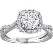 Sofia B. 10K White Gold 1 1/2 CTW Moissanite Halo Crossover Engagement Ring