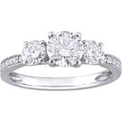 Sofia B. 10K White Gold Lab Created Moissanite 3 Stone Engagement Ring
