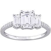 10K White Gold Lab Created Moissanite Emerald Cut 3 Stone Engagement Ring