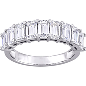 Sofia B. 10K White Gold Emerald Cut Moissanite Eternity Band