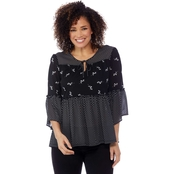 Passports Mesh Pieced Print Top