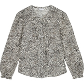 Lucky Brand Printed Pintuck Blouse