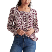 Lucky Brand Square Neck Printed Top