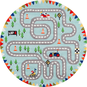 Momeni 5 x 5 ft. Round Lil Mo Whimsy Racetrack Area Rug