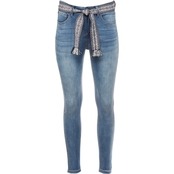 JW High Waist Belted Ankle Jeans