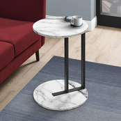 Accent Table - 24H - White Marble-Look - Black Metal