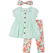 Little Lass Little Girls Eyelet Top and Capri Leggings 2 pc. Set with Accessory