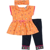Little Lass Little Girls Top and Capri Leggings 2 pc. Set with Hair Accessory