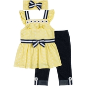 Little Lass Little Girls Daisy Top and Capri Leggings 2 pc. Set with Hair Accessory