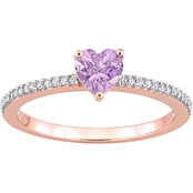 Sofia B. 10K Rose Gold Pink Amethyst and 1/10 CTW Diamond Heart Ring