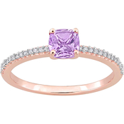 Sofia B. 10K Rose Gold Cushion Cut Pink Amethyst and 1/10 CTW Diamond Ring