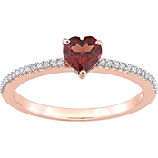 Sofia B. 10K Rose Gold Garnet and 1/10 CTW Diamond Heart Ring
