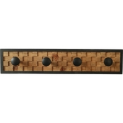 Simply Perfect Mosaic Wood Wall Organizer with Knobs 24 x 5