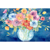 Inkstry Bright Poppies in Vase on Navy Canvas Print