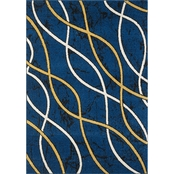 L'Baiet Coco Blue Graphic 5 x 7 ft. Rug