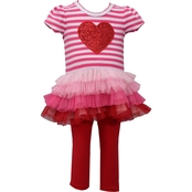 Bonnie Jean Infant Girls Sequin Heart 2 pc. Set