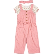 Little Lass Infant Girls Jumpsuit and Floral Top 2 pc. Set with Headband