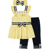 Little Lass Infant Girls Capris and Blouse 2 pc. Set with Headband