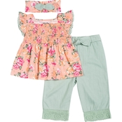 Little Lass Infant Girls Culottes and Blouse 2 pc. Set with Headband