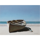 Inkstry Lonely Boat on Beach Canvas Print