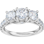 Above Love 14K White Gold 1 1/2 CTW Lab Created Diamond 3 Stone Ring Size 7