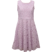 Bonnie Jean Little Girls Nautical Collar Lace Skater Dress