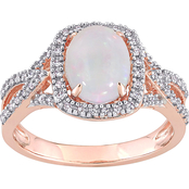Sofia B.  10K Rose Gold 1 CTW Oval Cut Opal and 1/6 CTW Diamond Ring