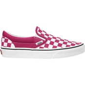 Vans Women's Pink Check Slip On Shoes