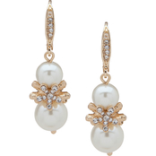 Anne Klein Goldtone Crystal Flower Faux Pearl Double Drop Earrings