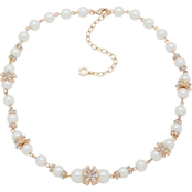 Anne Klein Goldtone Crystal Flower Faux Pearl Collar Necklace