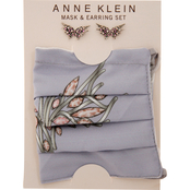 Anne Klein Silvertone Rose Butterfly Earrings and Gray Jewel Patterned Mask Set
