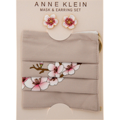 Anne Klein Goldtone Blush Flower Earrings and Blush Flower Mask Set