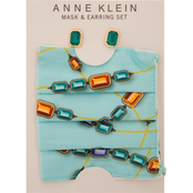 Anne Klein Goldtone Emerald Green Earrings and Jewel Patterned Mask Set