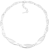 Nine West Silvertone Oval Link Collar Necklace