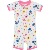 Baby Shark Infant Girls Cotton Pajama Romper