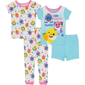 Baby Shark Infant Girls 4 pc. Cotton Pajama Set