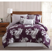 Peony Garden Floral Purple 12 pc. Queen Bed Ensemble