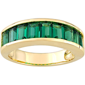 Sofia B. Yellow Gold over Sterling Silver 2 3/4 CTW Created Emerald Band