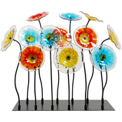 Dale Tiffany Flower Garden Art Glass Decor with Stand