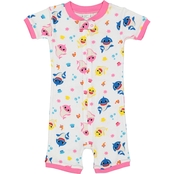 Disney Toddler Girls Baby Shark Cotton Romper Pajamas