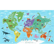 RoomMates World Map Mural Peel and Stick Wallpaper
