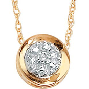 PalmBeach 10K Yellow Round Cluster Slide Pendant with Diamond Accent