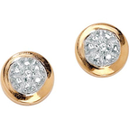 PalmBeach 10K Yellow Round Cluster Diamond Accent Earrings
