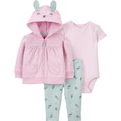 Carter's Infant Girls Bunny Cardigan, Bodysuit and Pants 3 pc. Set